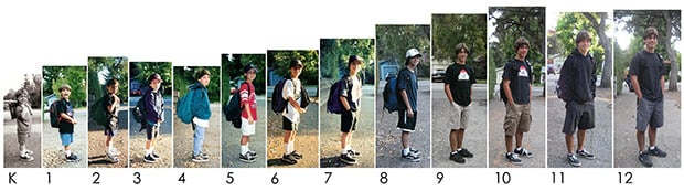 Growing Up in Photos: Thirteen First Days of School thirteen mini