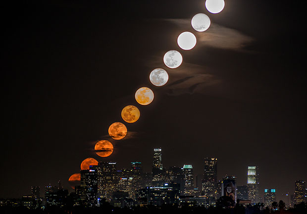 A Moon Rise Over Los Angeles as a Time Slice, Time Lapse, and Animated GIF timeslice