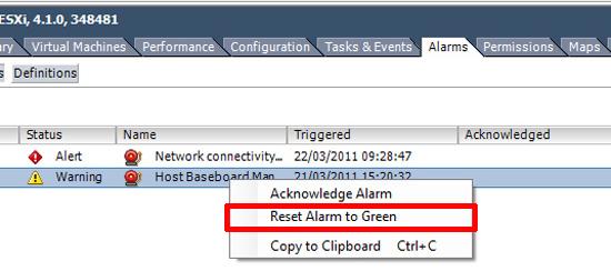 reset vmware alarm