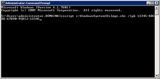 Install KMS Key from Command Line
