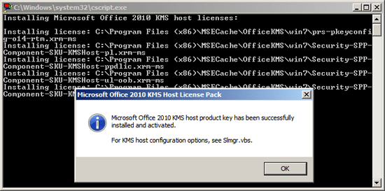 Add Office Activation to KMS Host