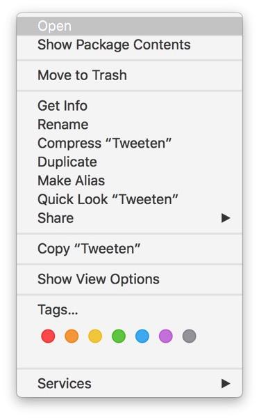 Open context menu