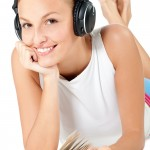 Woman With Headphones and Book