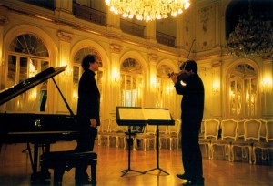 With pianist, Jan Philip Schulze, in 2000,  in the stunning Golden Hall in Maribor, Slovenia,