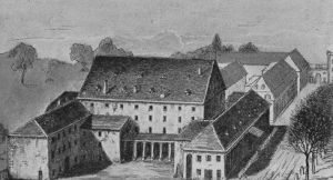 Hoftheater Karlsruhe, built by Weinbrenner 1810, destroyed by fire in 1847. Paganini gave his concert here in December 1829
