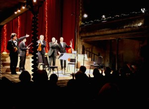 Michael Finnissy, with the Kreutzer Quartet at the Wilton's Music Hall performance. 12 11 13  (Photo Malene Skaerved)