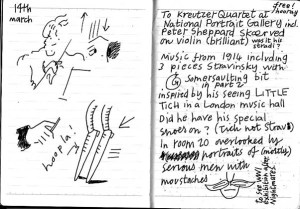 Sally Kindberg's brilliant illustration of Stravinsky's 'Little Tich' instrument somersault. From her notebook page drawn at the Kreutzer Quartet Concert at the National Portrait Gallery 14th March 1014 http://www.sallykindberg.co.uk/notebook/about-artist-and-author-sally-kindberg/
