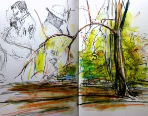 The joy of London. Beech & Hornbeam glade near Thames Bog, people on the Tube.10-11/11/14
