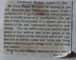 The letter about the 'brothers' Amati violin