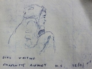 Girl waiting at Charlotte Airport NC