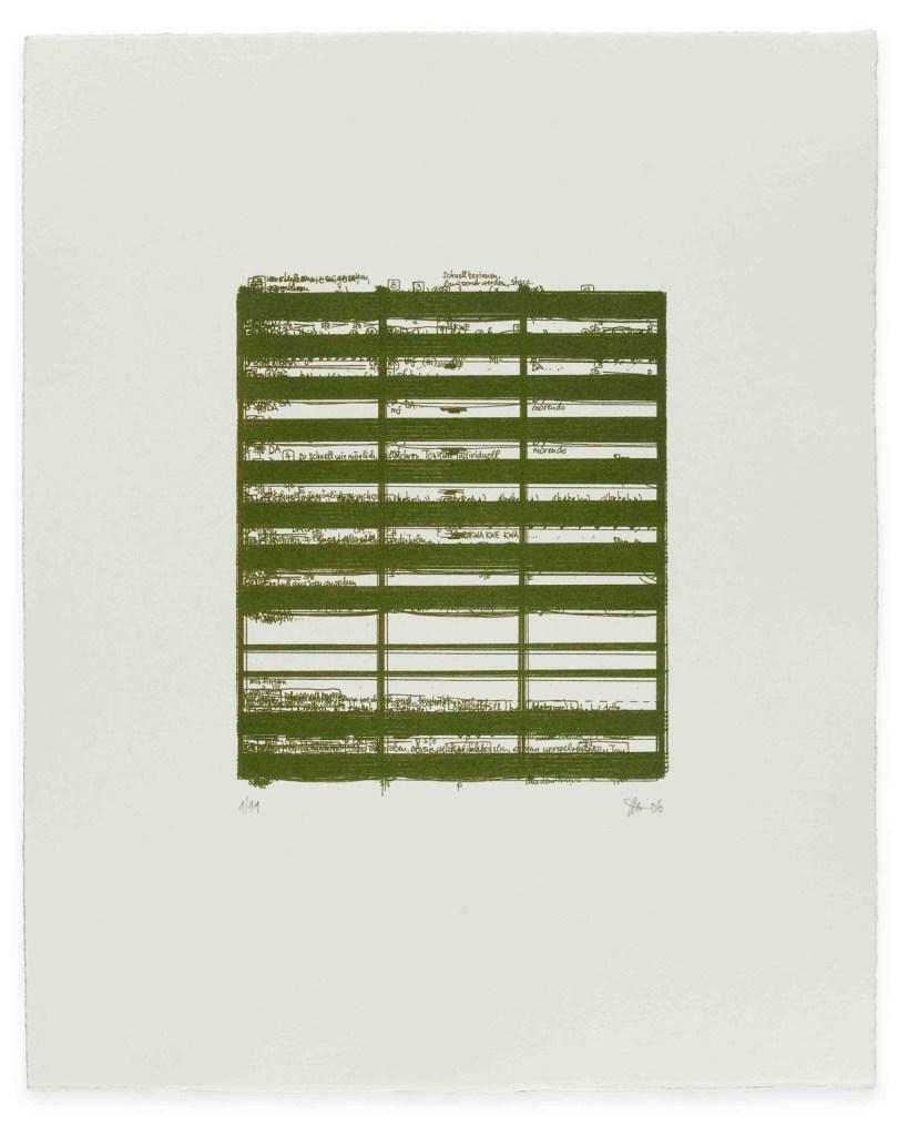 Phonographie nach der eigenen Partitur von Peter Androsch: Prima Luce, Lithographie auf Büttenpapier (50×40 cm)</br>Foto: Norbert Artner