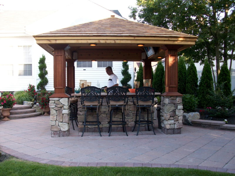 Outdoor Kitchens & Bars Installed | Peter Anthony ... on Backyard Bar With Roof id=52748