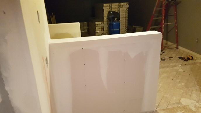 Half wall mudded