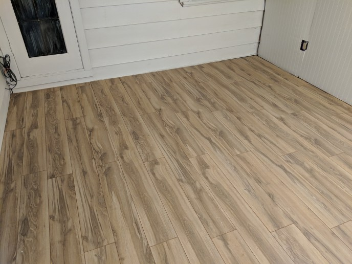 New floors installed in a 4 season room