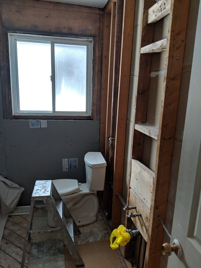 Bathroom reno, walls down to studs