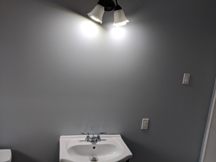 New light installed on freshly painted wall