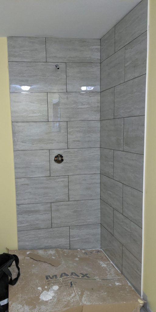 New tiles installed in a shower