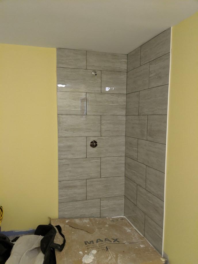 Walls tiled for shower