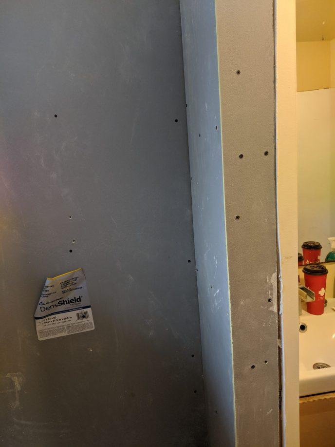 DensShield installed on bathroom walls
