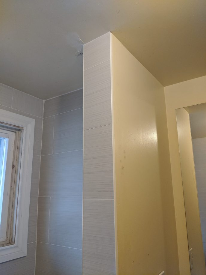Tiles installed in a bathroom