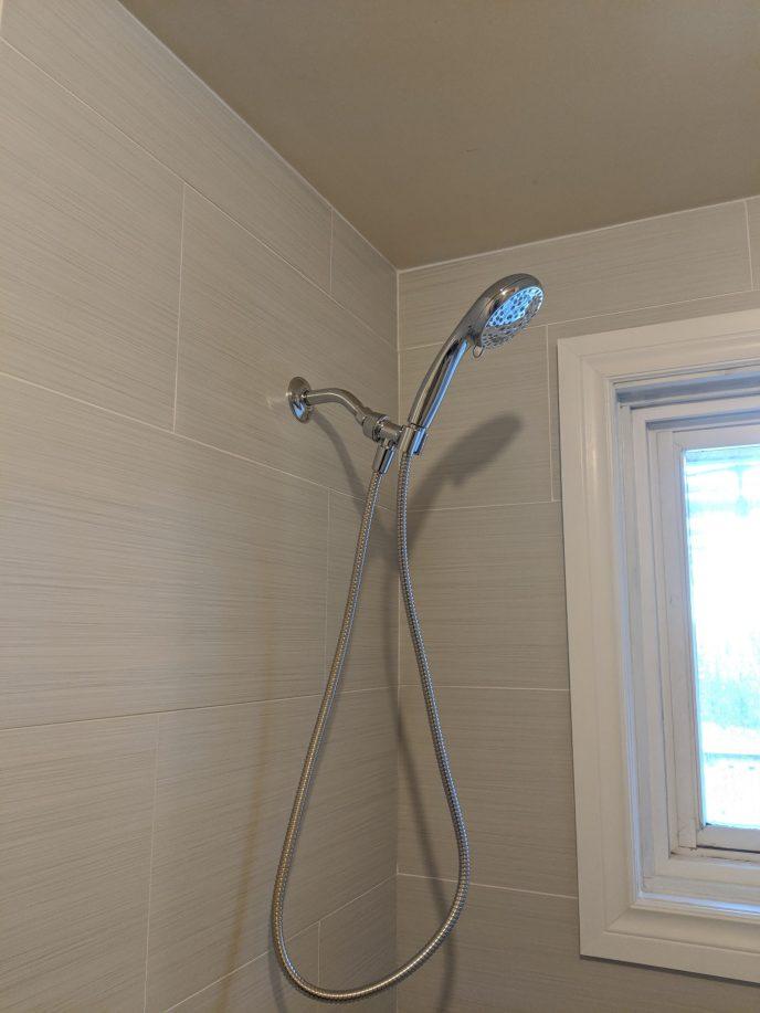 New shower valve and window trim installed