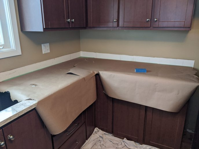 Wall and counter prepped for back splash