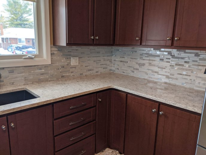 Back splash installed in kitchen
