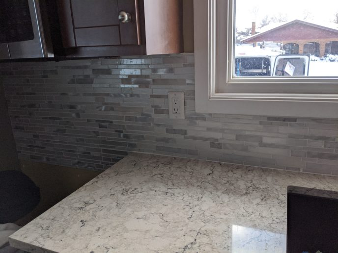 Back splash grouted and counter caulked
