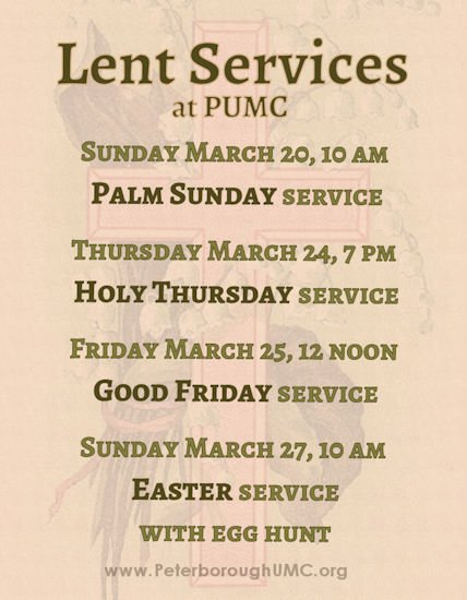 Lent worship services, click for printable