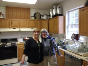 Gladys and Susan helping