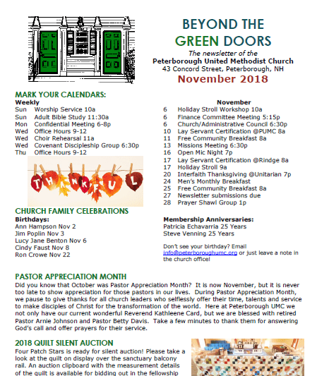 Beyond the Green Doors - November 2018