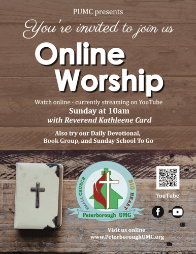 PUMC presents: You're invited to join us. Online worship. Watch online - currently streaming on YouTube. Sunday at 10 am with Reverend Kathleene Card. Also try our Fellowship Hour, Daily Devotional with Bible Study, Book Group, Children's Sunday School To Go.