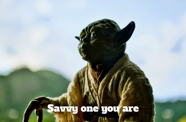"Image of Yoda with the phrase ""Savvy one you are"" across it"