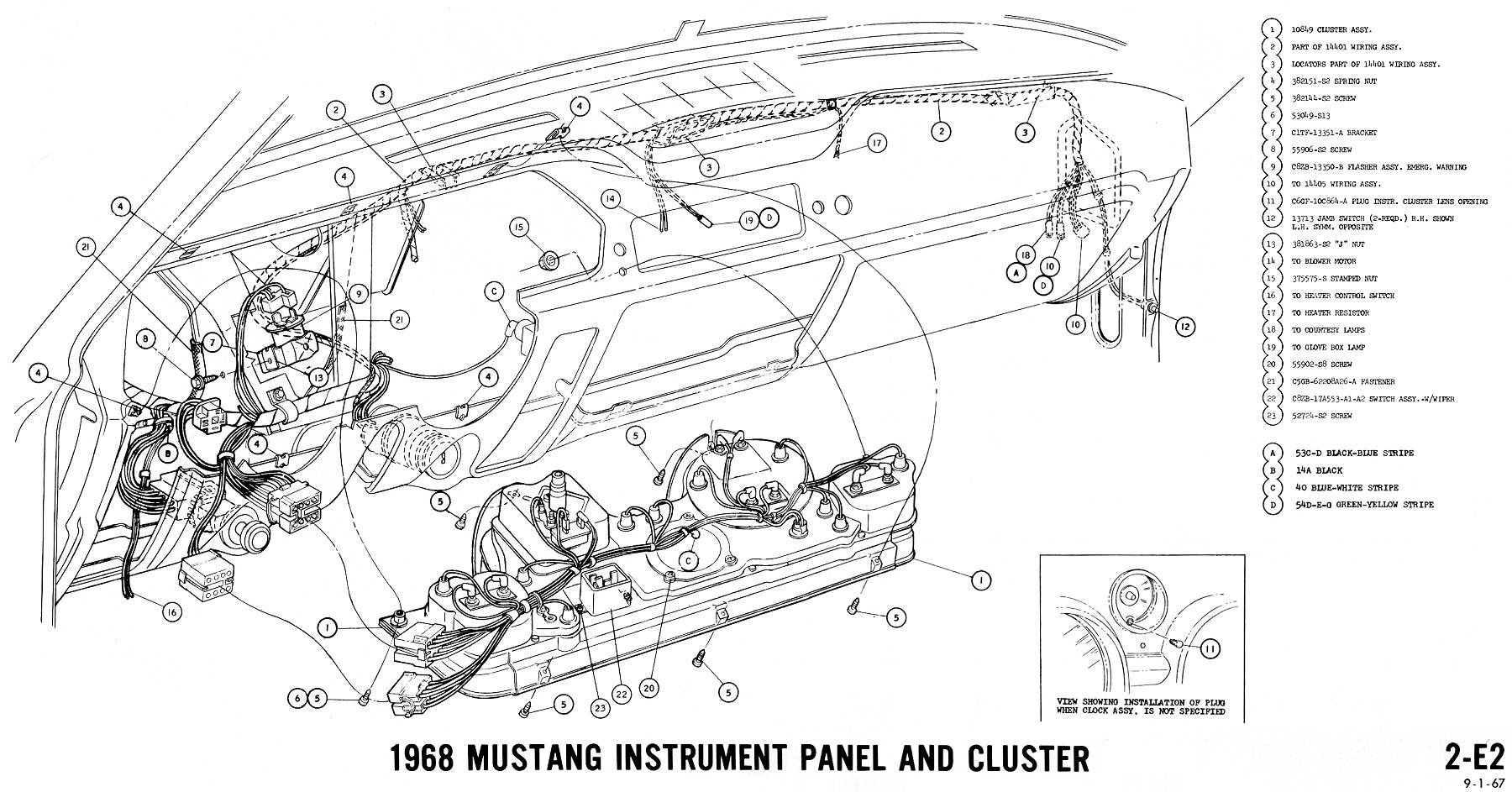 1968 Ford Convertible Wiring Diagram Circuit Schematic 861 Mustang Dash Cluster Electrical Diagrams Ez