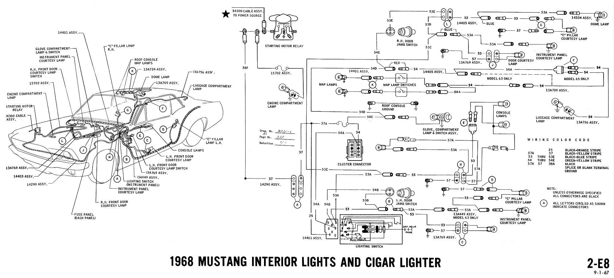 1968 mustang charging wiring diagram