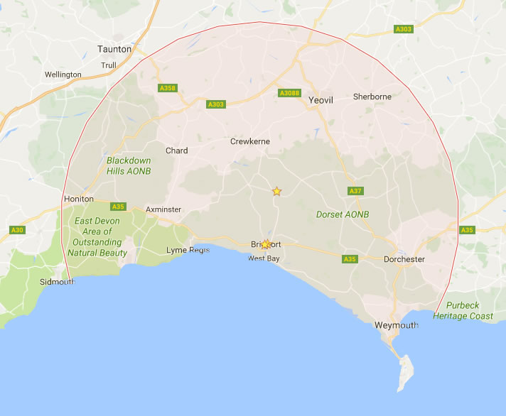 map-dorset-devon-somerset – Peter George Electrical Contractor on
