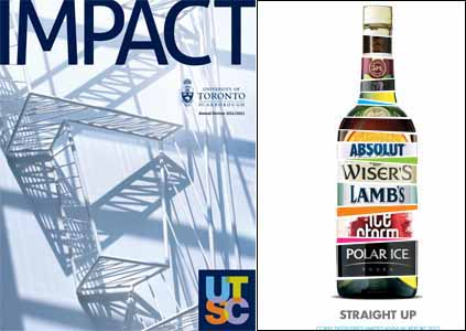Left: Scott Thornley + Company's annual report for the University of Toronto Scarborough. Right: The Works Design's annual report for Corby Distilleries.