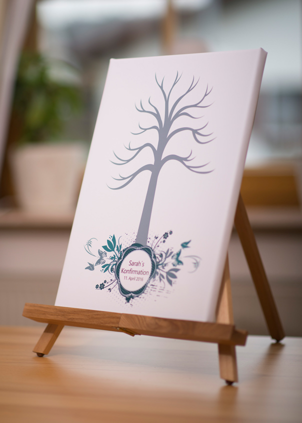 konfirmation taufe kommunion fingerabdruckbaum leinwand