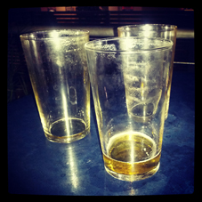 Three Empty Pint Glasses
