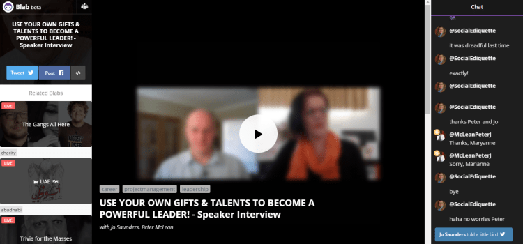 Watch My Blab Interview on Leadership