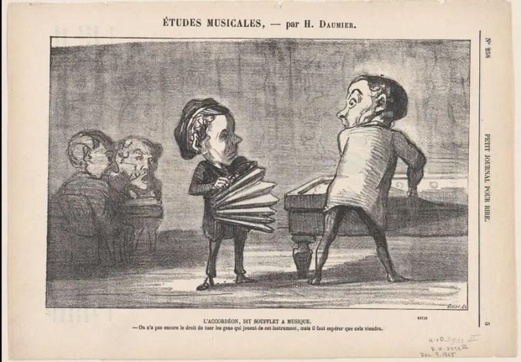 historische-Karikatur-Akkordeon-von-Daumier