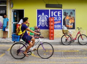 Cycling on La Digue High Street