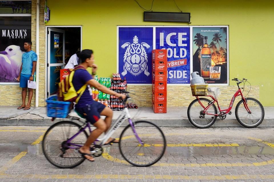 Cycling on La Digue High Street