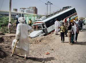 Bus in a ditch in Khartoum