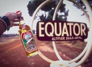 A bottle of Linie Aquavit at Equator Station in Kenya (Peter Moore)