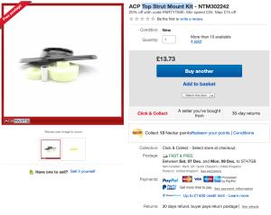 eBay - Top Strut mount listing