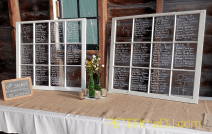 Rustic windows served as a seating directory