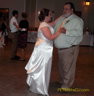 """Doing both parent dances together saves time for more """"open dancing"""" later."""