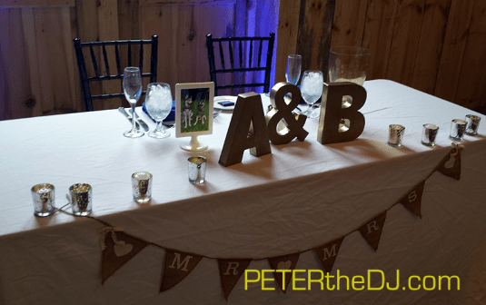 Aubrey and Bill's sweetheart table