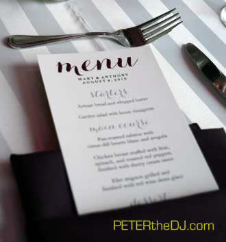 Dinner menus